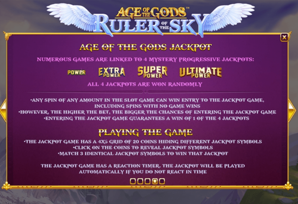 age of the gods ruler of the sky slot rules