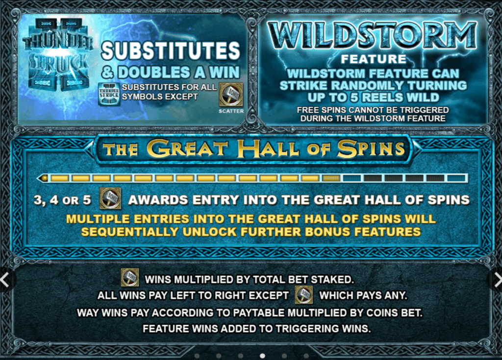 thunderstruck ii slot rules