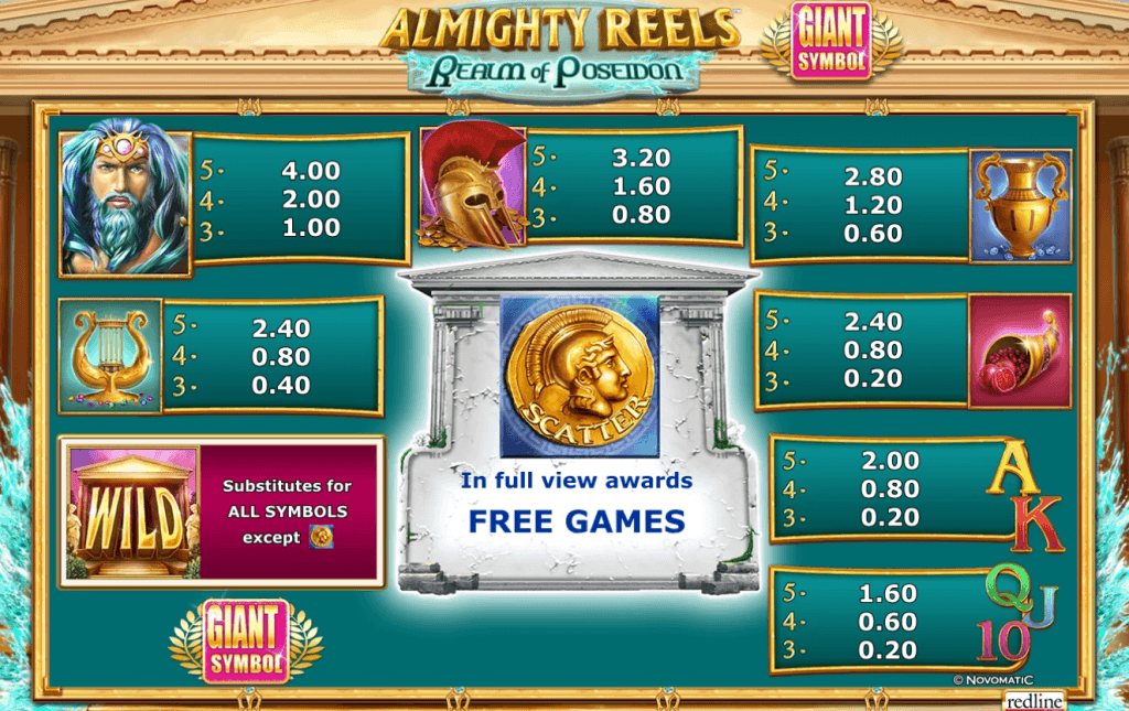 almighty reels realm of poseidon slot rules