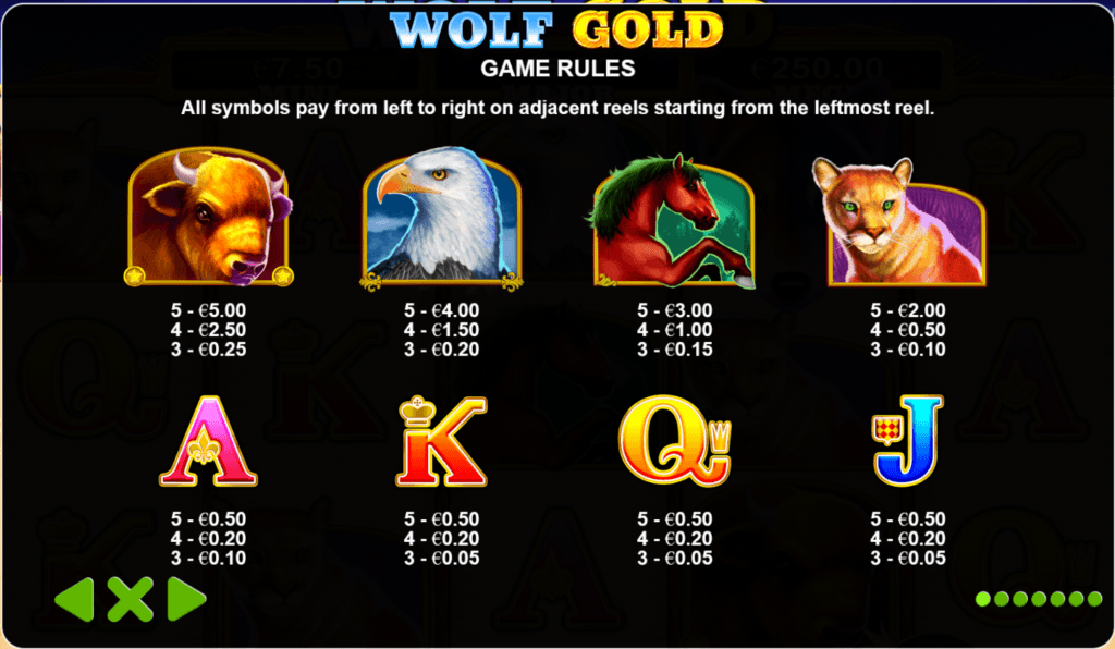 wolf gold slot rules