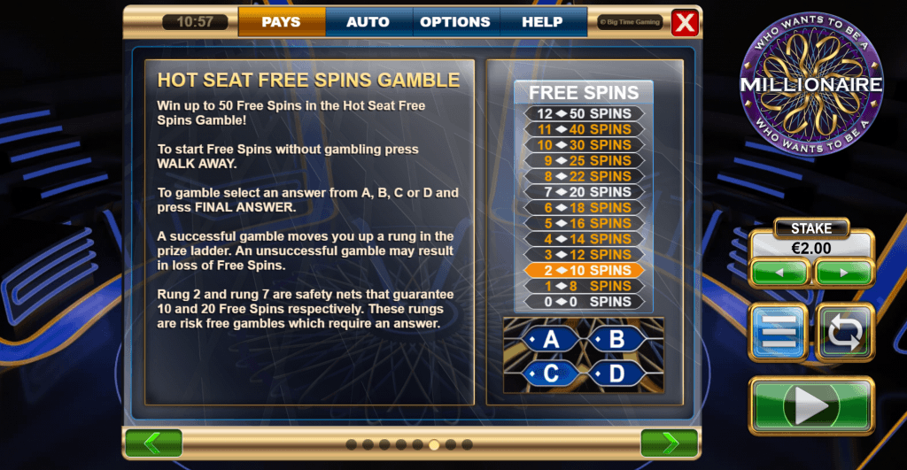 who wants to be a millionaire slot rules