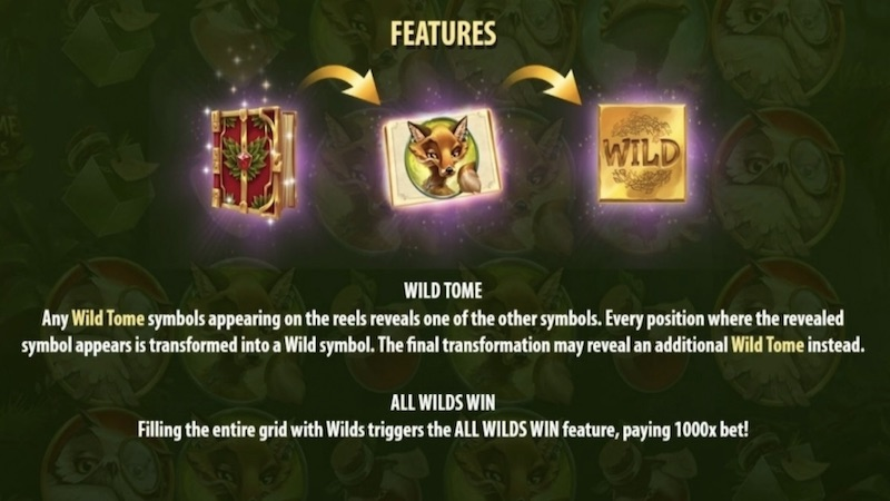 wild tome of the woods slot rules